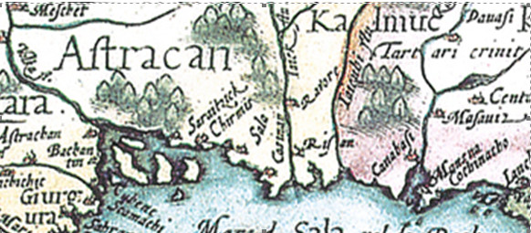 город Астрахань на карте Герарда де Йоде, 1593 г.