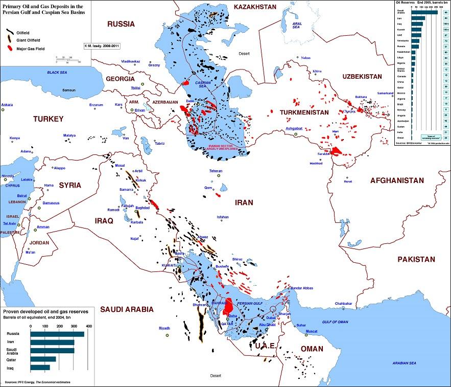 Основные запасы нефти и газа на Ближнем Востоке