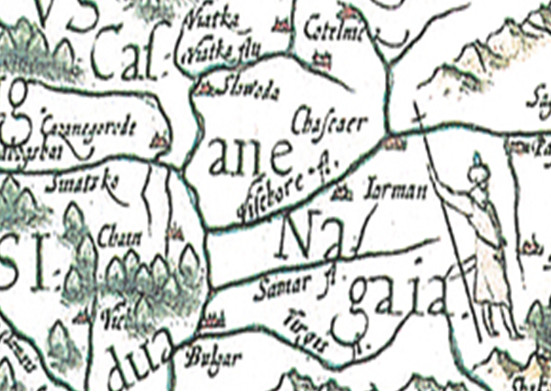 город Казань на карте Герарда де Йоде, 1593 г.